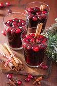 Glass of mulled wine with cranberry and spices, winter drink — Stockfoto