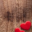 Red hearts over wooden background for Valentines day — Stock Photo #64603765