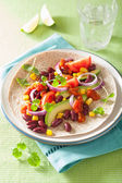 Vegan taco with vegetable, kidey beans and salsa — Stock Photo