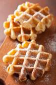 Belgian waffles with icing sugar — Stockfoto