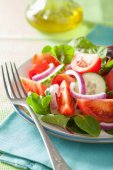 Healthy tomato salad with onion cucumber pepper — Stock Photo