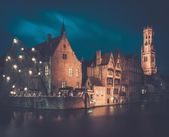 View of a decorated quay in Bruges, Belgium — Stock Photo