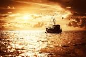 Fisherman's boat in a sea — Stock Photo