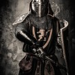 Medieval knight with a sword against stone wall — Stock Photo #52445323