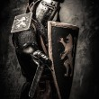 Medieval knight with a sword against stone wall — Stock Photo #52445399