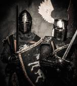 Tow medieval knights in full armour — Stock Photo