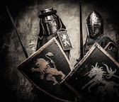 Medieval knights against stone wall — Stock Photo
