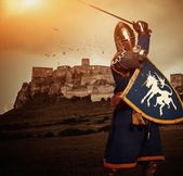 Medieval knight against Spis castle, Slovakia — Stock Photo