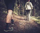 Koppel met polen lopen in een bos wandelen — Stockfoto