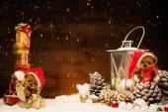Small toy bears in christmas still life  — Stockfoto