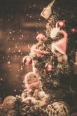 Christmas still life with teddy bears decorating tree  — Foto Stock