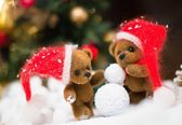 Small toy bears making snowman in christmas still life  — Stock Photo