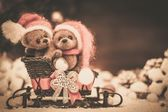 Small toy bears on a sleigh in christmas still life  — Stock Photo