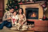 Happy family near Christmas tree in house interior — Stockfoto