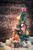 Christmas still life with teddy bears decorating tree  — Stock Photo