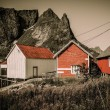 Traditional wooden houses against mountain peak in Reine village, Norway — Stock Photo #57139103