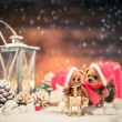 Small toy bears making snowman in christmas still life — Stock Photo #57139133