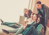 Group of young friends taking selfie in home interior  — Stock Photo