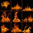 Set of fire flames on black — Stock Photo #61550961