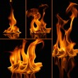 Set of fire flames on black — Stock Photo #62158423