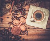 Coffee theme on wooden table — Stock Photo