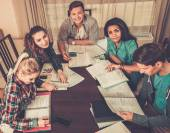 Multi ethnic group of students preparing for exams — Fotografia Stock