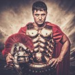 Legionary soldier against stormy sky — Stock Photo #63053143
