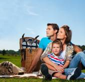 Young family having picnic outdoors  — Stock Photo