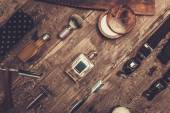 Gentleman's accessories on a on a luxury wooden board — Stock Photo