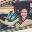 Happy driving student with a car keys — Stock Photo #73537781