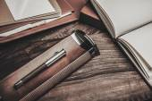 Luxurious writing tools on a wooden table  — Stockfoto