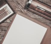 Luxurious writing tools on table — Stock Photo