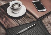 Luxurious businessman tools on table — Stockfoto