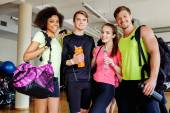 Multiracial group after aerobics class — Stock Photo