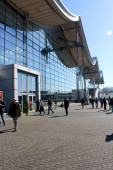 HANNOVER, GERMANY - MARCH 13: The exhibition ground on March 13, 2014 at CEBIT computer expo, Hannover, Germany. CeBIT is the world's largest computer expo — Stockfoto