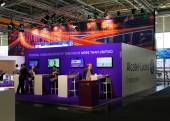 HANNOVER, GERMANY - MARCH 20: The stand of Alcatel-Lucent on Mar — Stock Photo
