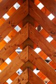 Wood wall on the winter time .Stack of Brown wood  — Stock Photo