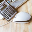 A computer mouse with a calculator, glasses and a laptop — Stock Photo #61686887