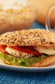 Vegeterian sandwich with sesame and poppy seed — Stock Photo