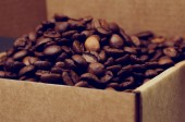 Coffee beans in box — Stock Photo