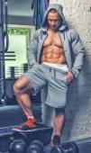 Muscular male at the gym. — Stock Photo