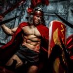 Roman warrior attacking his enemies — Stock Photo #62749595