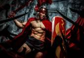 Roman warrior attacking his enemies — Stock Photo