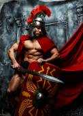 Muscular warrior holds shield and sword — Fotografia Stock