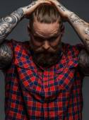 Brutal tattooed male with beard — Stock Photo