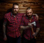 Two brutal huge males with beards — Stock Photo