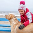 Little girl possing with a dog. — Foto Stock #65778233