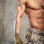 Постер, плакат: Man in army pants and naked body