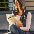 Cute female with small dog — Stock Photo #73074359