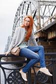 Redhead casual slim girl — Stock Photo